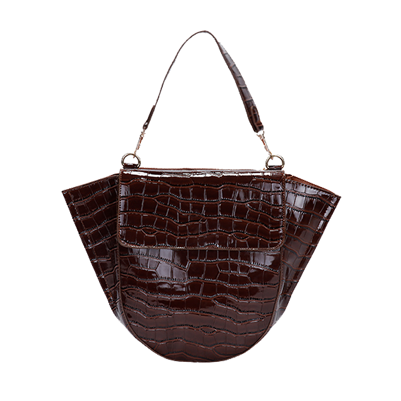 Croco-Effect Shoulder Bag