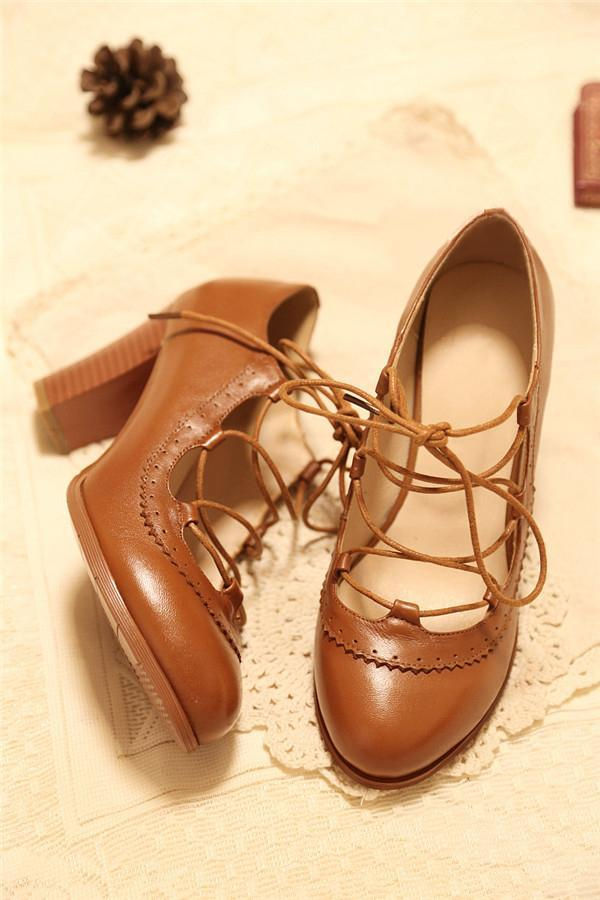 Cross Lacing Round Toe Heels