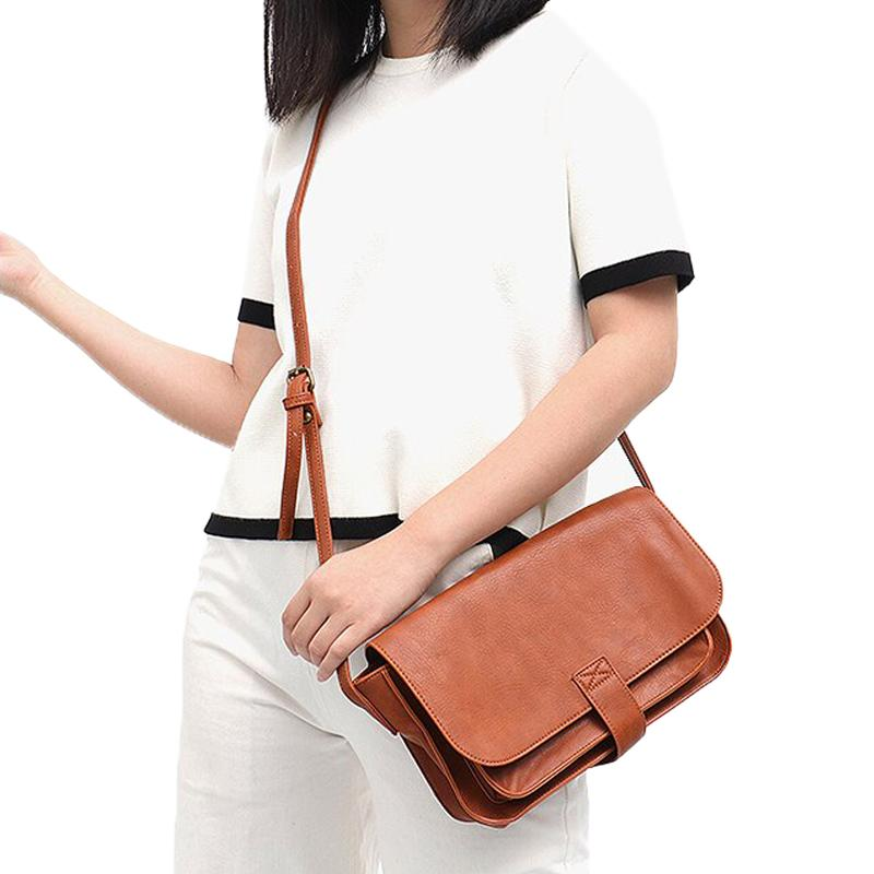 Vegan Leather Flap Crossbody Bag
