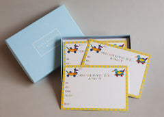 Children's party invitations Set of 10 cards and envelopes for children to write on. 'Toys Party Invitation'