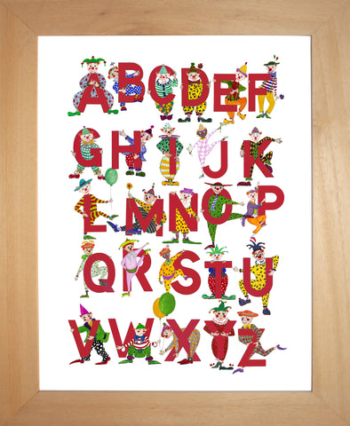 Bright Red Children's Alphabet With Dancing Clowns