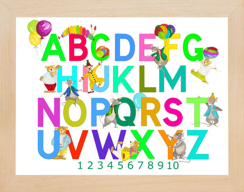 Multicoloured Alphabet And Numbers With Mixed Characters