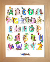 Multicoloured Pastel Children's Alphabet With Mice