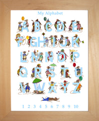 Pale Blue Children's Alphabet and Numbers With Mice
