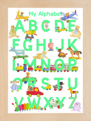 Pale Pistachio Green Alphabet With Toys