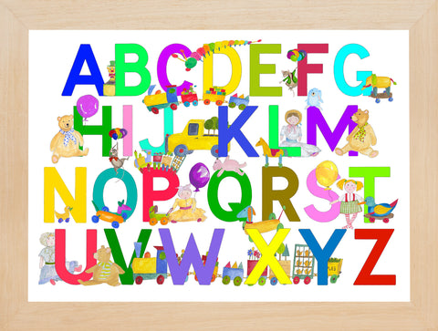 Brightly Multicoloured Alphabet With Toys And Mice