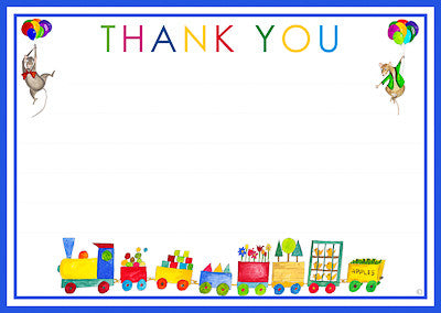 Toy Train Thank You Cards And Envelopes   juliabostonkids