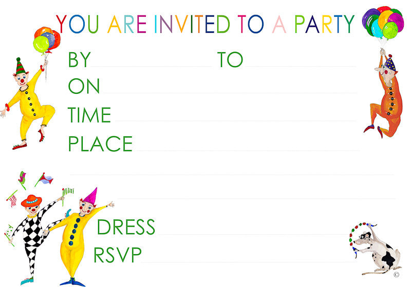 Clown Party Invitations And Envelopes Juliabostonkids