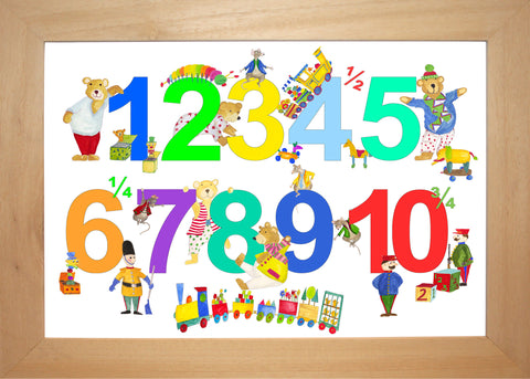 Brightly Multicoloured Number Chart With Toys, Bears And Mice