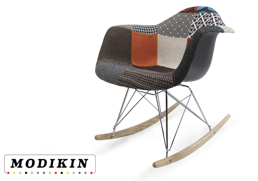 rocker patchwork upholstered midcentury rocking chair modikin. Black Bedroom Furniture Sets. Home Design Ideas