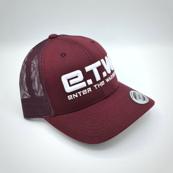 The Prototypes - E.T.W Trucker Cap - White on Maroon