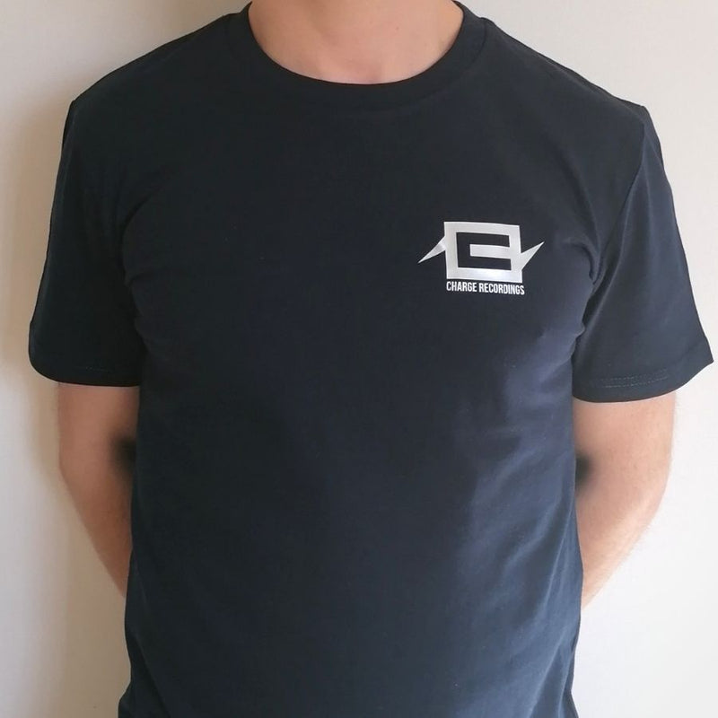 Charge Logo Tee - Silver on Navy Blue