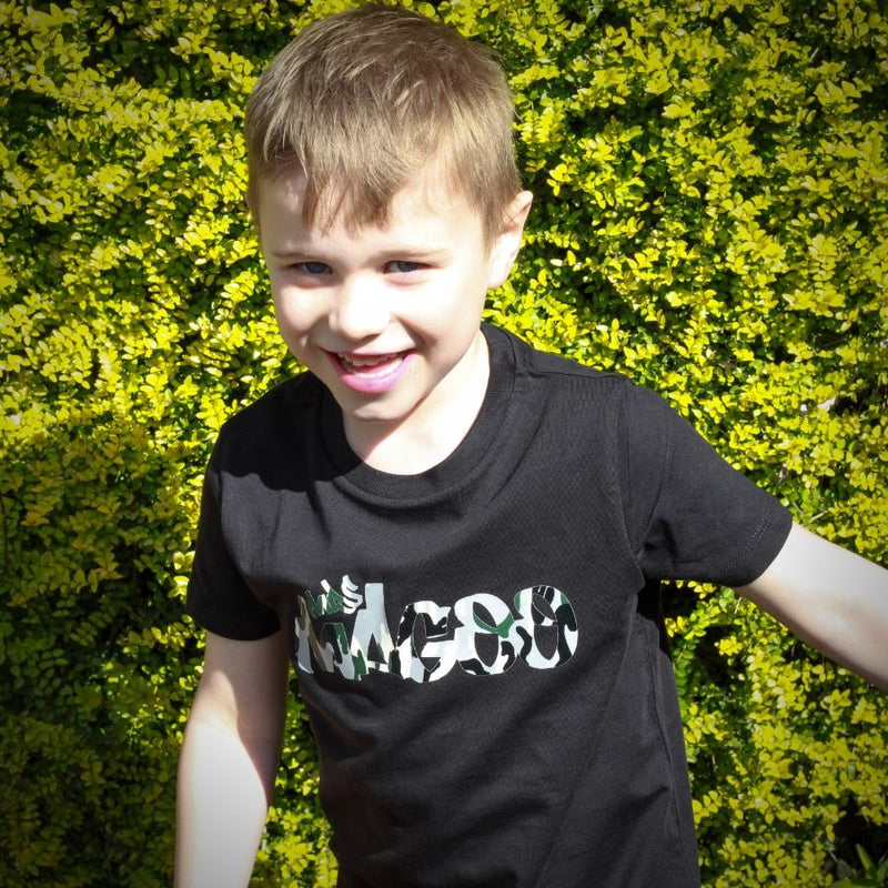 Mrs Magoo Signature Kids Tee - Urban Camo on Black