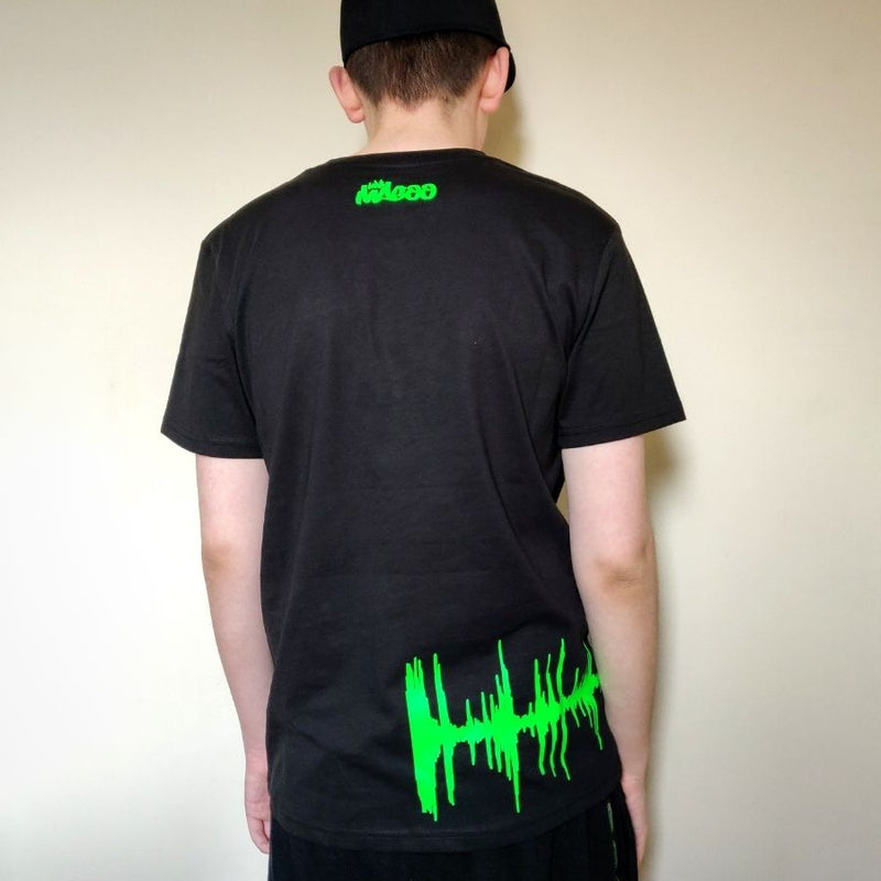 Mrs Magoo Amen Brother Wrap T-Shirt - Neon Green on Black