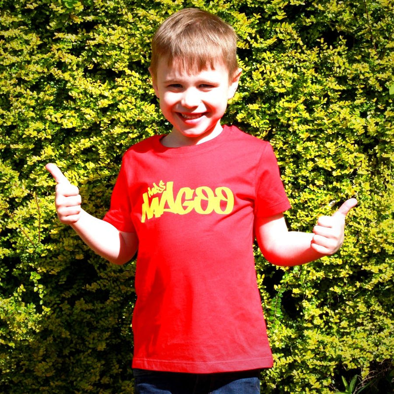 Mrs Magoo Signature Kids Tee - Yellow on Red