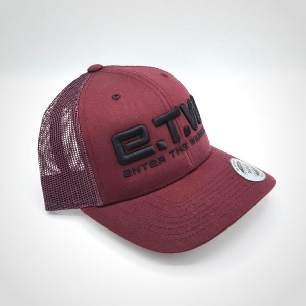 The Prototypes - E.T.W Trucker Cap - Black on Maroon