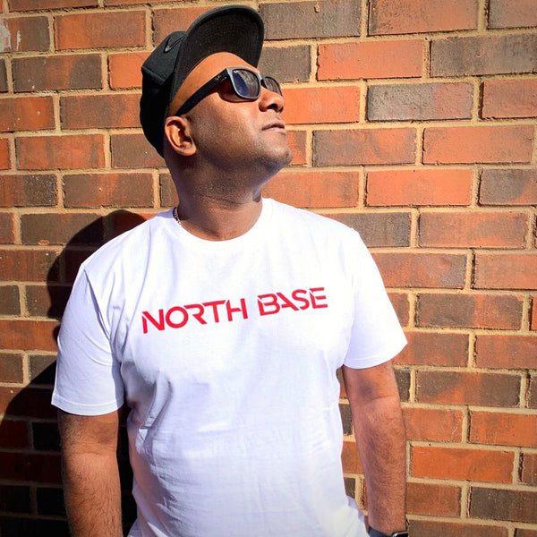 North Base Red on White Tee