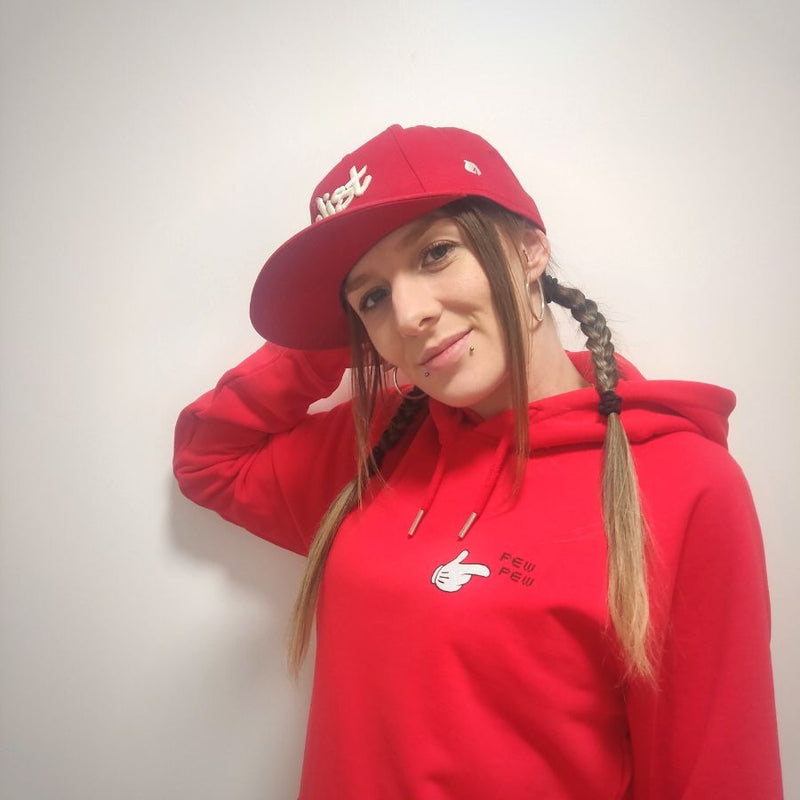Mrs Magoo Pew Pew Hoodie - White on Red