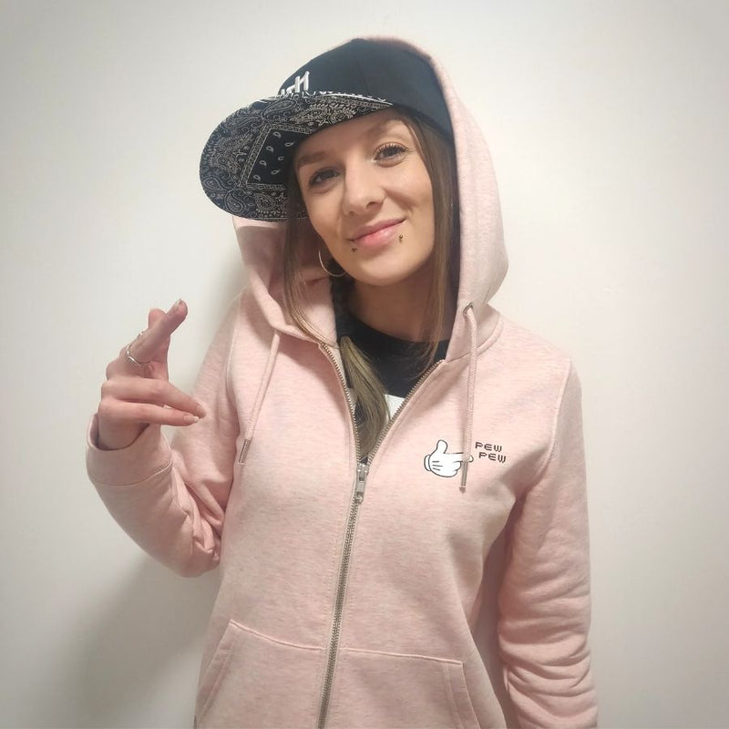 Mrs Magoo Pew Pew Hoodie - Sparkling White on Pink