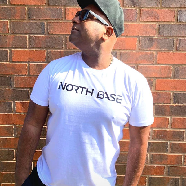 North Base Carbon Black on White Tee