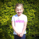 Mrs Magoo Signature Kids Tee - Raspberry on White