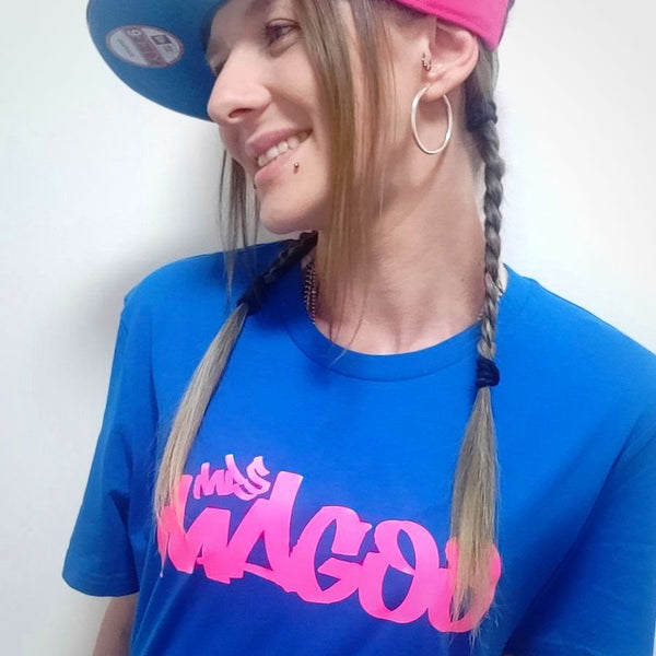 Mrs Magoo Signature Tee - Pink on Blue