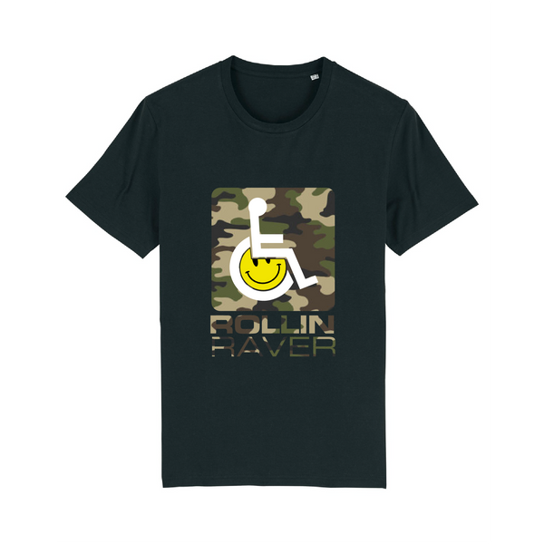 Rollin Raver Fundraiser T-Shirt - Camo on Black