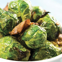 [side] Pan-seared Brussel Sprouts w/mushrooms & garlic