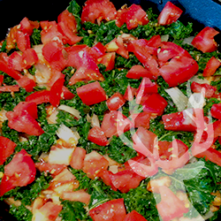 [side] Wilted Kale, Tomatoes, & Carmelized Onions