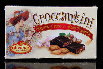 Oliviero Croccantini Ricoperti - Dark Chocolate Covered Almond and Hazelnut Brittle - Torrone Candy
