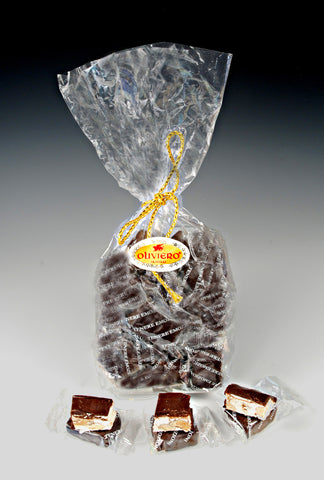 Oliviero Dark Chocolate Covered Soft Vanilla Almond Torroncini - Torrone Candy