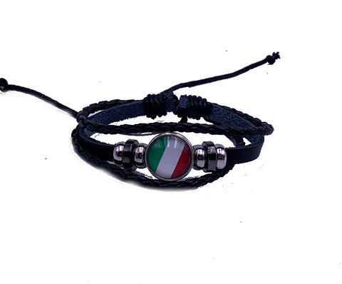 Black Corded Italy Flag Bracelet