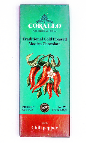 Corallo Modica Chocolate with Chili Pepper - Torrone Candy