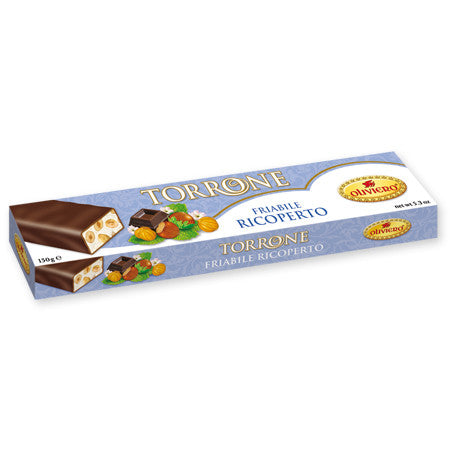 Oliviero Chocolate Covered Hazelnut Torrone Bar - Hard - Torrone Candy
