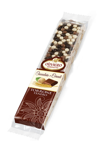 Oliviero Soft Torrone Snack Bar with Chocolate and Krispies - Torrone Candy