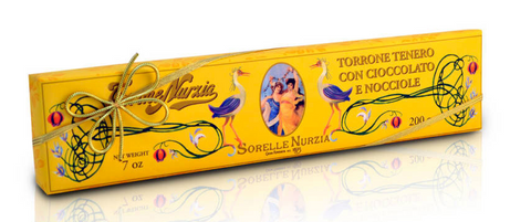 Sorelle Nurzia Hand Wrapped Torrone - Soft Chocolate Hazelnut - Torrone Candy