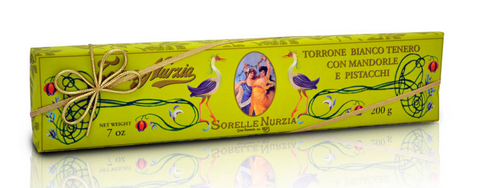 Sorelle Nurzia Hand Wrapped Soft Torrone - Almonds and Pistachios - Torrone Candy