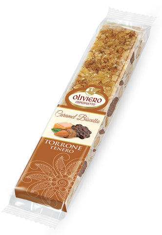 Oliviero Soft Torrone Snack Bar with Caramel and Biscotti - Torrone Candy