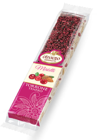Oliviero Soft Torrone Snack Bar with Cranberries - Torrone Candy