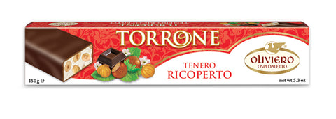 Oliviero Chocolate Covered Hazelnut Torrone Bar - Soft - Torrone Candy