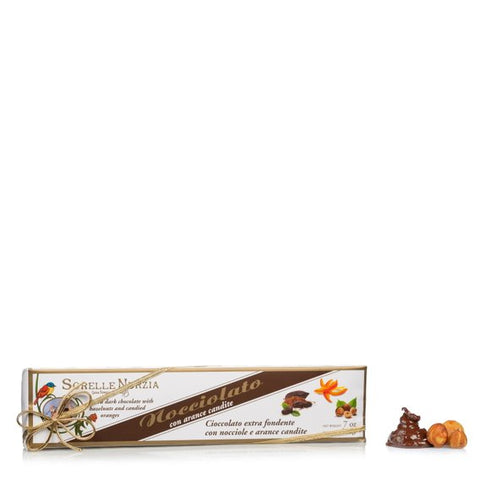 Sorelle Nurzia Hand Wrapped Nocciolato Bar - Extra Dark Chocolate with Candied Orange - Torrone Candy