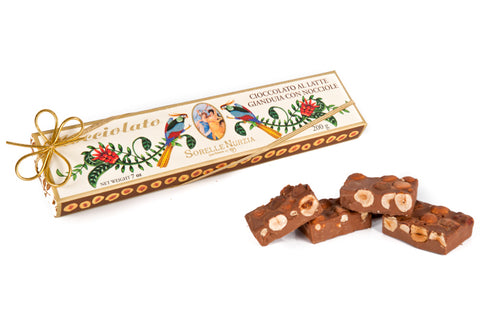 Sorelle Nurzia Hand Wrapped Gianduia Milk Chocolate Hazelnut Bar - Torrone Candy