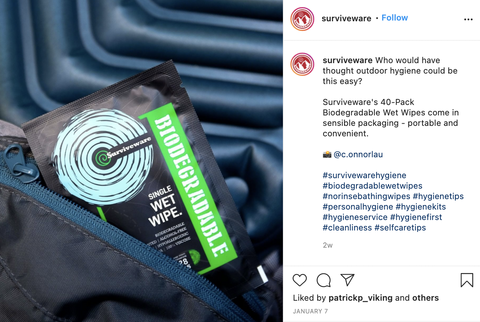 Surviveware's 40-Pack Biodegradable Wet Wipes