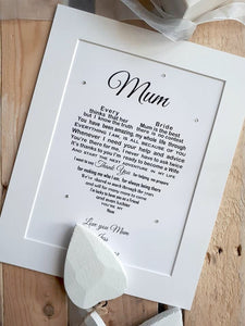 Mother of the Bride Wedding Gift - Personalised print for your mum