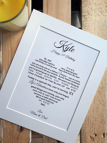 Son 21st Gift -  personalised print