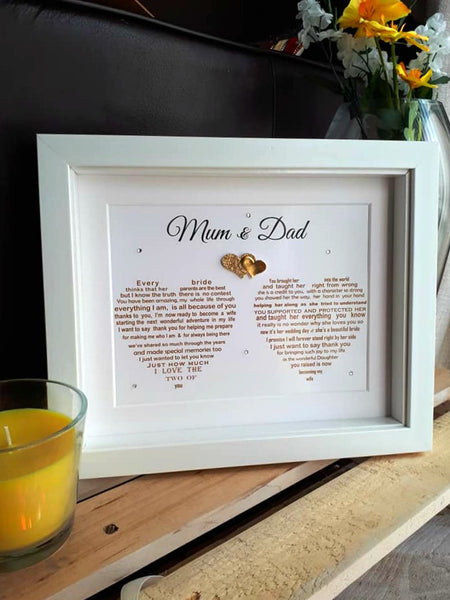 Parents of the Bride Gift - Personalised Wedding Prints for Bride's Parents