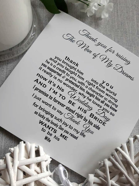 Wedding Card - Thank you for raising the man of my dreams