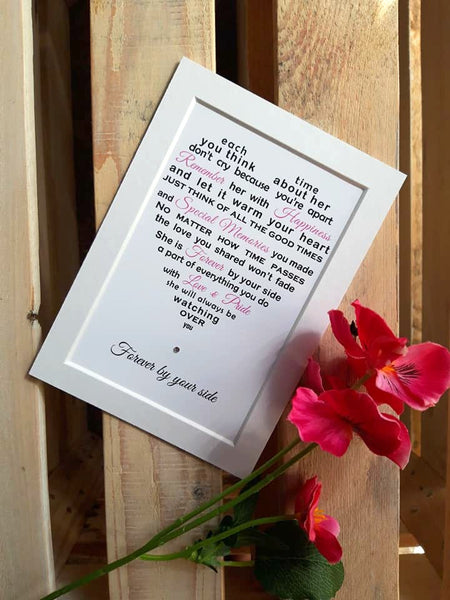 Sympathy Gift -  Personalised Condolence Poem Print to fit 7x5 frame