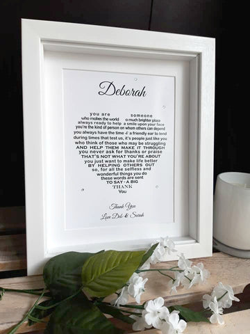 Thank You Gift -  Personalised poem print