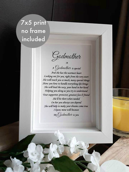 Godfather Gift - Thank you Godmother, Godparent, Godparents Personalised print